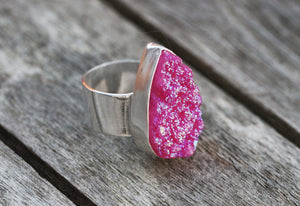 Shocking Pink Real Druzy Teardrop Sterling Silver Ring Bezel Set Birthday Gift Handmade