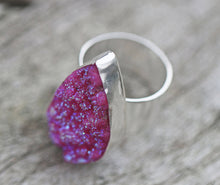 Load image into Gallery viewer, Shocking Pink Real Druzy Sterling Silver Ring