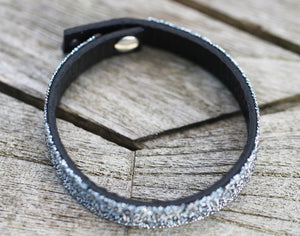 Unique, Swarovski Crystal CAL Leather Cuff Bracelet