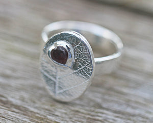 Fine Silver Leaf & Rhodolite Garnet Ring Semi Precious Gemstone Metal Clay PMC