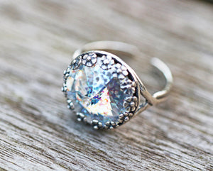 Swarovski White Patina Antiqued Sterling Silver Adjustable Ring