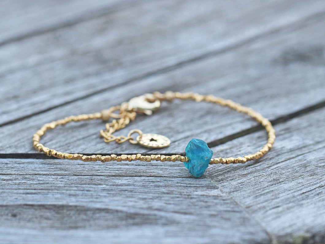 Blue Apatite Rough Crystal & Gold Vermeil Beaded Bracelet