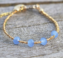 Load image into Gallery viewer, Aqua Blue Chalcedony Faceted Rondelle Bracelet