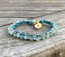 Load image into Gallery viewer, Swarovski Cup Chain Teal Bracelet Friendship Gift Birthday Aqua Blue