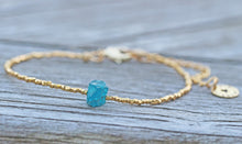 Load image into Gallery viewer, Blue Apatite Rough Crystal & Gold Vermeil Beaded Bracelet Anniversary Birthday Dainty Delicate Semi Precious Gemstones Minimalist