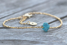 Load image into Gallery viewer, Blue Apatite Rough Crystal & Gold Vermeil Beaded Bracelet