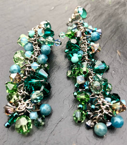 Swarovski Crystal & Gemstone Chandelier Earrings