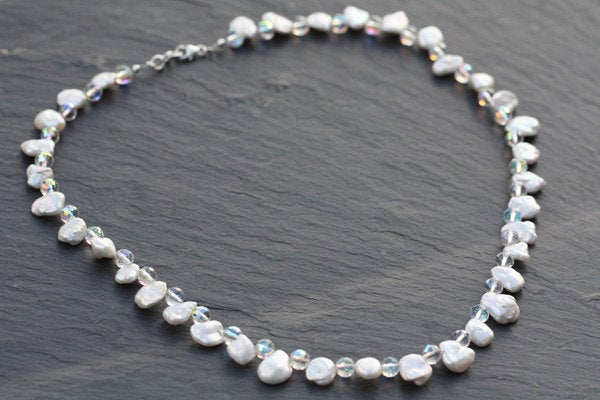 Bridal Keishi Pearl & Swarovski Crystal Necklace