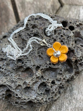 Load image into Gallery viewer, Sterling Silver & Fine Silver with Leather Flower Necklace