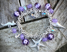 Load image into Gallery viewer, Sterling & Fine Silver Charm Bracelet with lamp work beads.