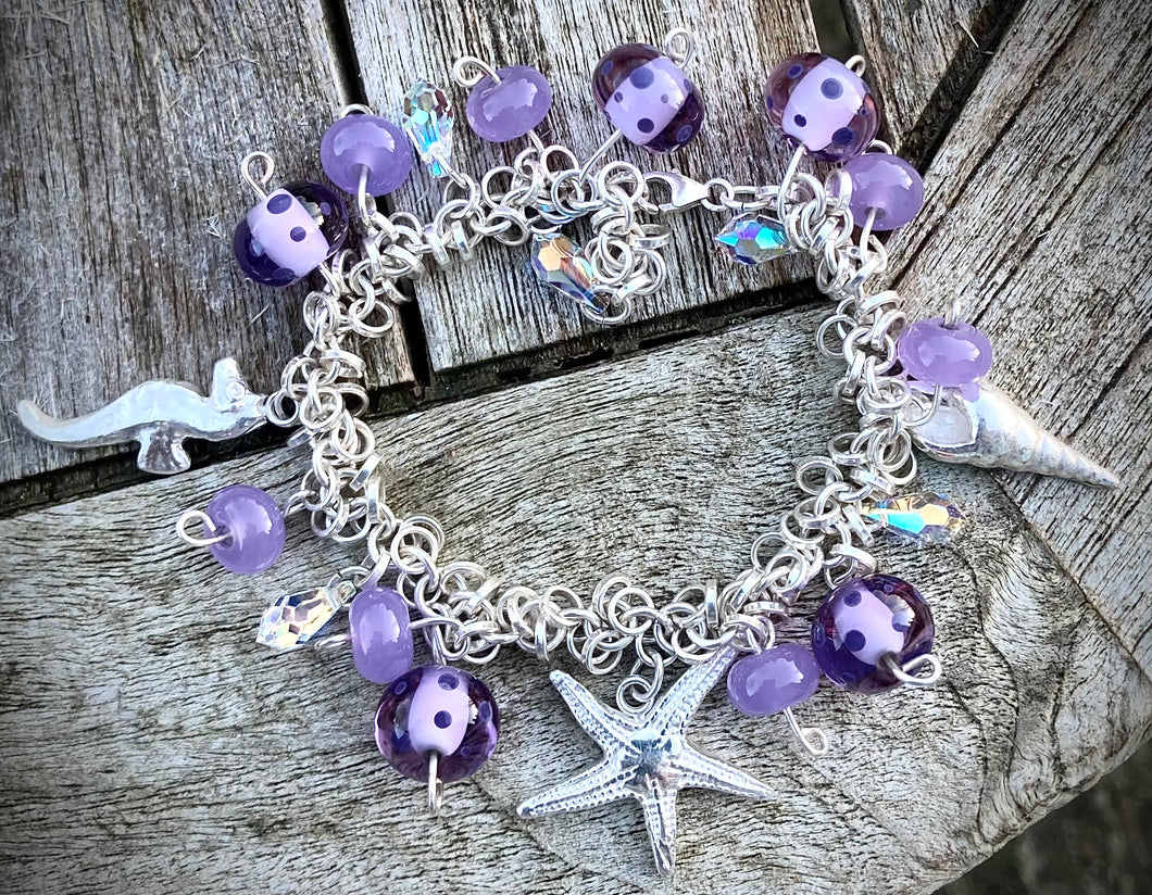 Sterling & Fine Silver Charm Bracelet with lamp work beads.