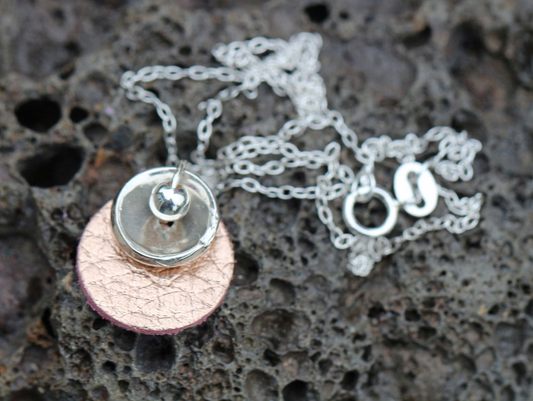 NEW! Rose Gold Leather & Fine Silver Necklace