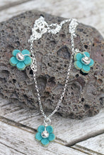 Load image into Gallery viewer, Sterling Silver & Leather Flower Triple Necklace with Fine Silver Nuggets