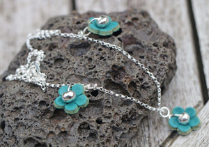 Sterling Silver & Leather Flower Triple Necklace with Fine Silver Nuggets
