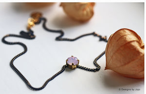 Swarovski Pink Opal Navy/Gold Electroplated Choker Necklace
