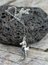 Load image into Gallery viewer, Fine Silver Seahorse Pendant with Pink Cubic Zirconia