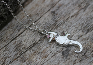 Fine Silver Seahorse Pendant with Pink Cubic Zirconia