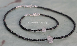 Black Spinel & Herkimer Diamond Gift Set Necklace & Bracelet