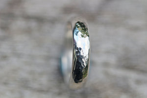 Sterling Silver Mens Unisex Hammered Ring