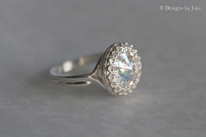Swarovski Patina White Crystal  Sterling Silver Adjustable Ring