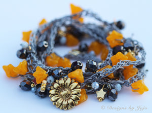 Tangerine & Grey Crochet Wraparound Necklace/Bracelet