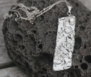 Textured Fine Silver Metal Clay Pendant