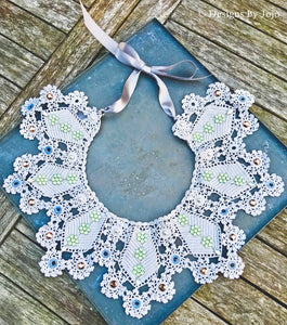 Swarovski Crystal & Vintage Crochet Lace Bib Statement Necklace