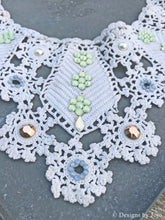 Load image into Gallery viewer, Swarovski Crystal & Vintage Crochet Lace Bib Statement Necklace