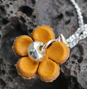 Sterling Silver & Fine Silver with Leather Flower Necklace