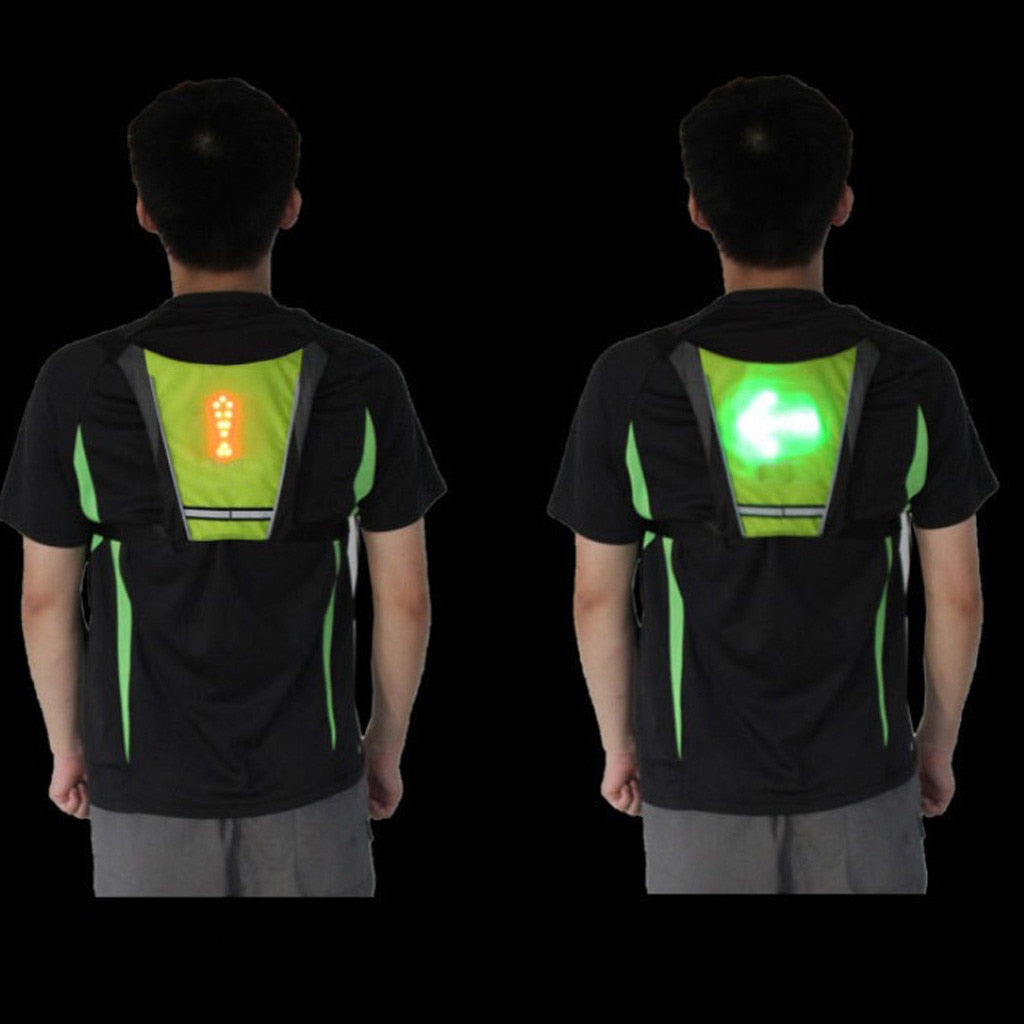 LED Signal Light Indicator Reflective Vest Bike Bicycle Night Hiking Cycling Backpack Safety Turning Signal Lights Vests