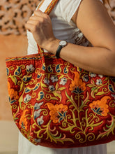 Load image into Gallery viewer, This exclusive purse is decorated with thin manual embroidery on Satin fabric (70% silk, 30 cotton) with natural-dyed silk threads.