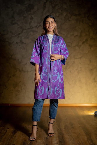 Handwoven Long Women Ikat Jacket