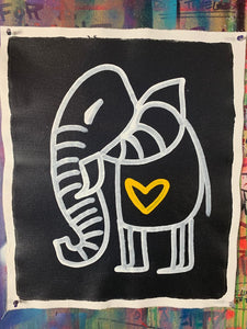 Cave Elephant | Black + White + Yellow Heart #2