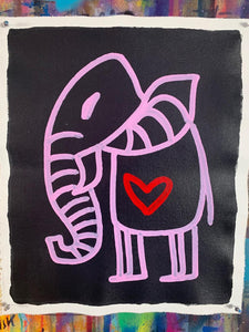 Cave Elephant | Black + Pink + Red Heart