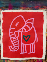 Load image into Gallery viewer, Cave Elephant | Red + Pink + Forest Green Heart