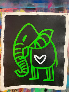 Cave Elephant | Black + Lime + White Heart