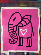 Load image into Gallery viewer, Cave Elephant | Cosmic Pink + Black + White Heart