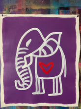 Load image into Gallery viewer, Cave Elephant |Purple + White + Red Heart