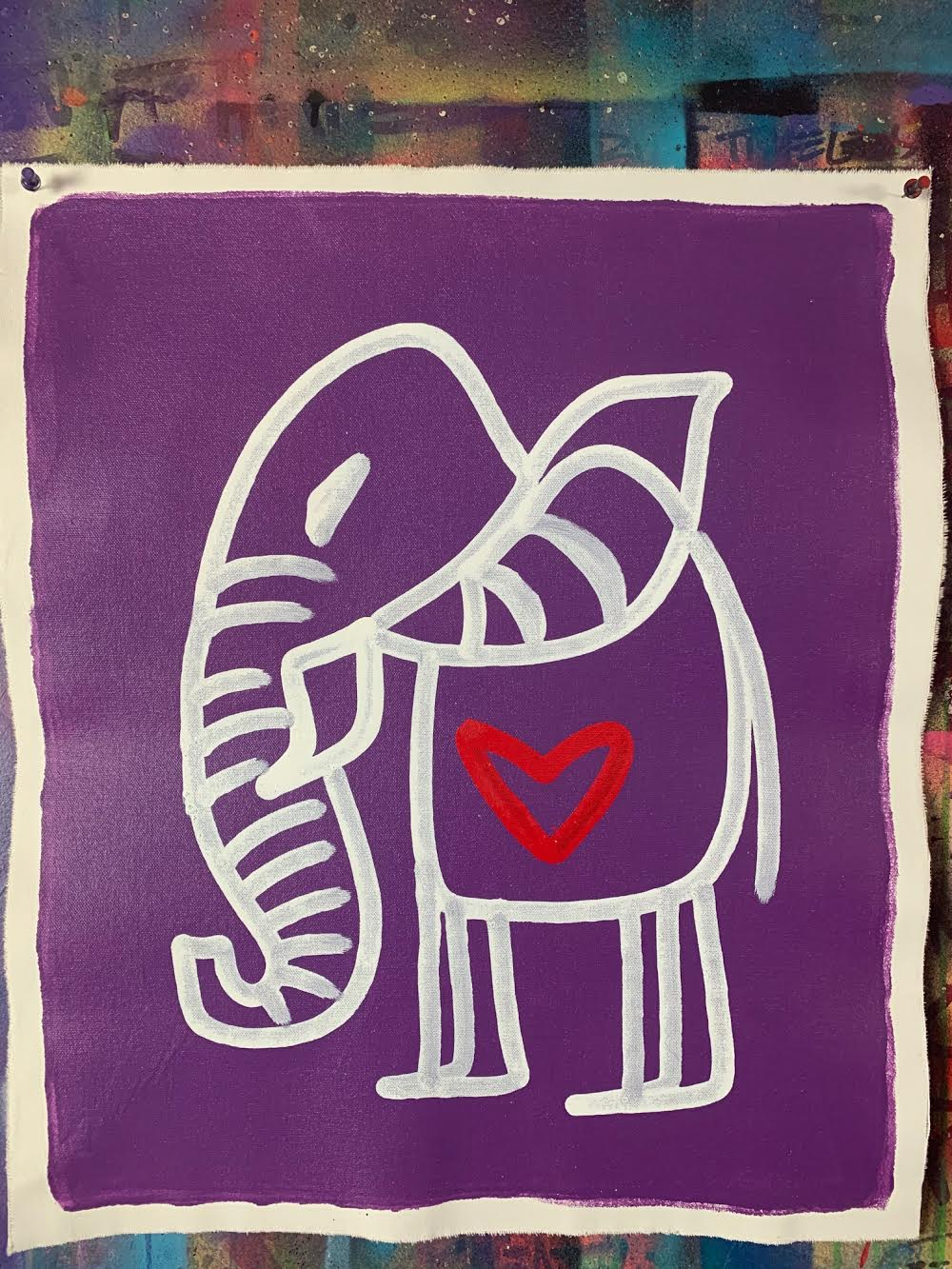 Cave Elephant |Purple + White + Red Heart