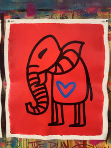Cave Elephant | Red + Black + Blue Heart