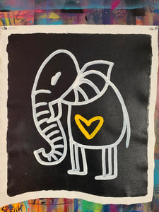 Cave Elephant | Black + Yellow Heart #1