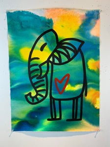 Signature Cave elephant 8/ being alive / color wash / 2021