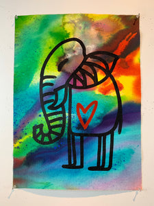 Signature Cave elephant 12/being alive / color wash / 2021
