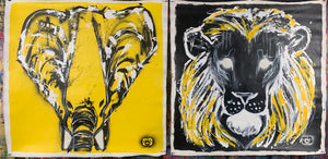 Lion and elephant collection of two / black + yellow