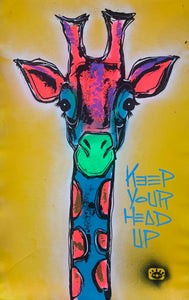 Glowing yellow giraffe / keep your head up