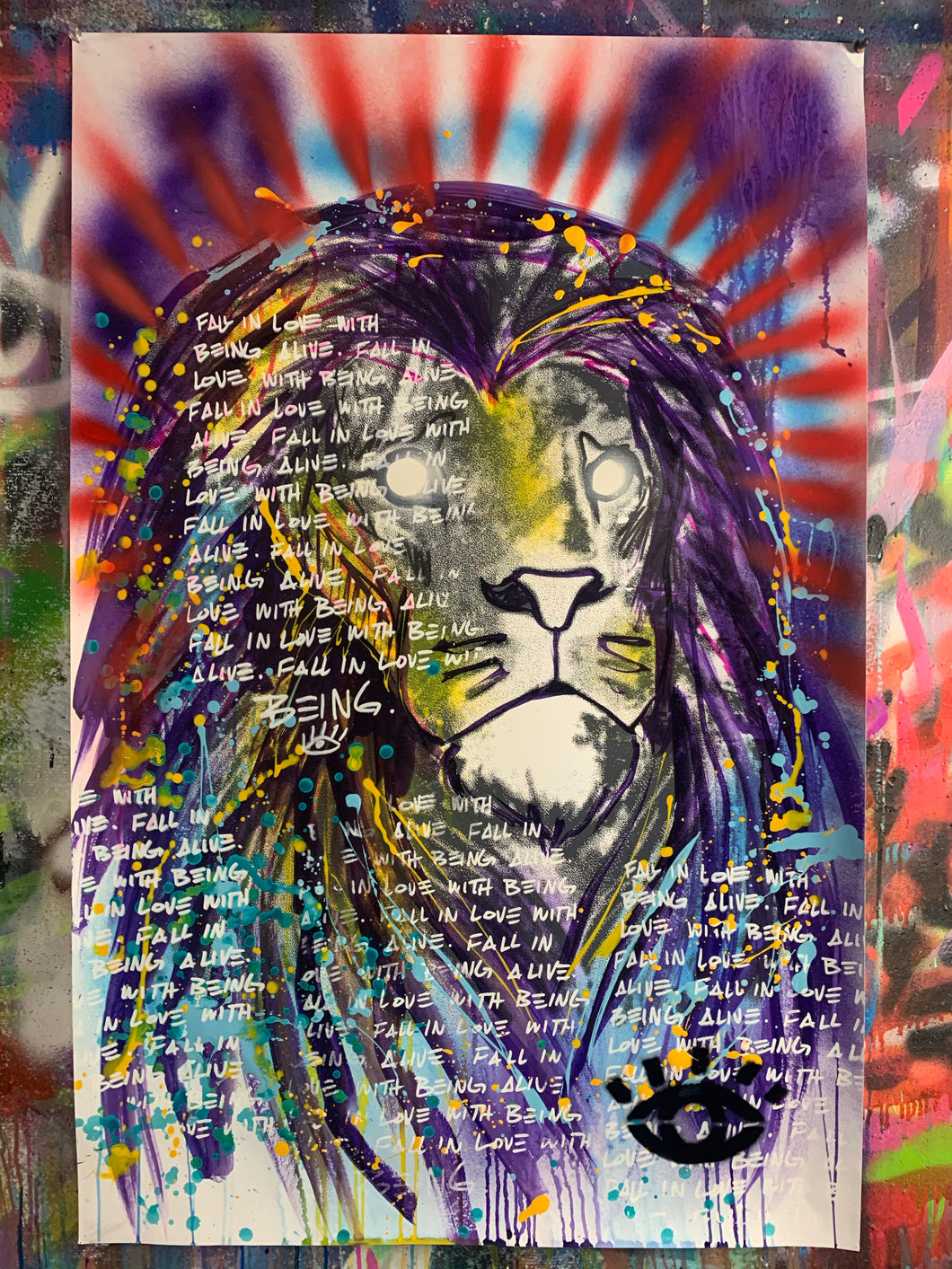 Being alive / Polaris lion / mixed media on paper