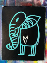 Load image into Gallery viewer, signature cave elephant / aqua blue + black