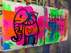 Pocket art Cave elephant collection of two | sacred not scarred