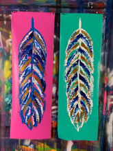 Load image into Gallery viewer, Go fly / signature feather / collection of two / aqua + cosmic pink