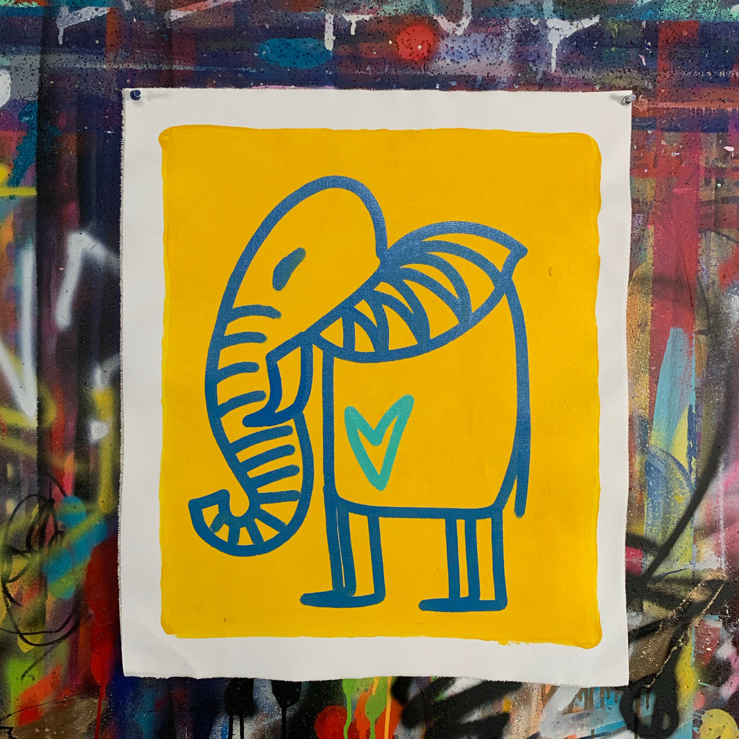 Signature cave elephant/ blue + yellow + aqua heart